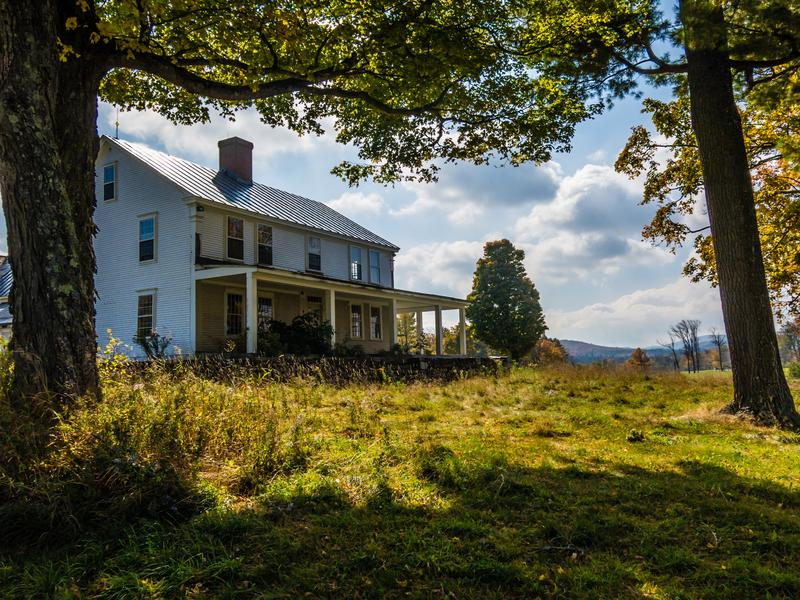 <p>Enchanted farm house on a sunny Autumn morning in rural central Vermont.</p>