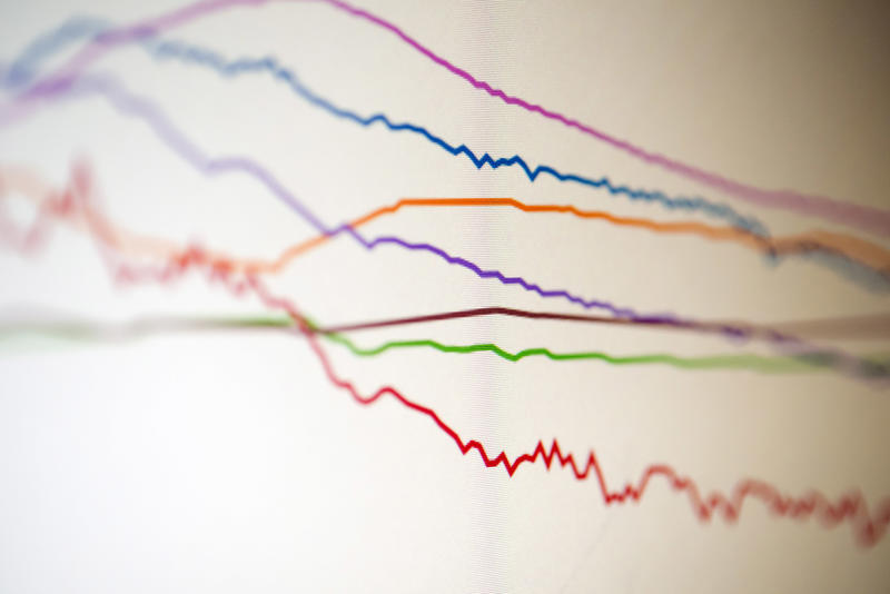 Selective focus image of colored line graphs of environmental data monitor