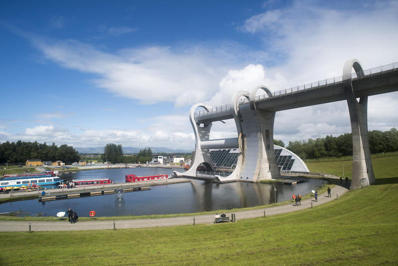 Scenic view of the Falkirk Wheel, Scotland, a rotational boat lift connecting two canal systems for transport