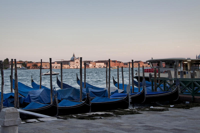 <p>Gondolas resting at sunset in Venice, Italy</p>