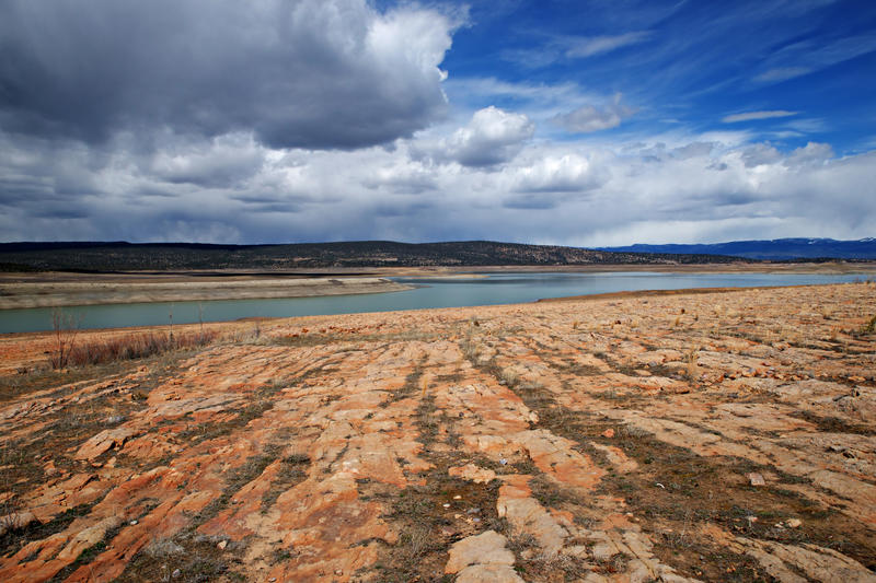<p>Storm clouds gather over New Mexico's Heron Lake.  Chama and El Vado Lake are nearby.</p>