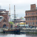 12825   Sailboat moored at the quay, Liverpool