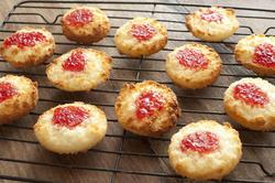 12335   Coconut jam cookies over brown table