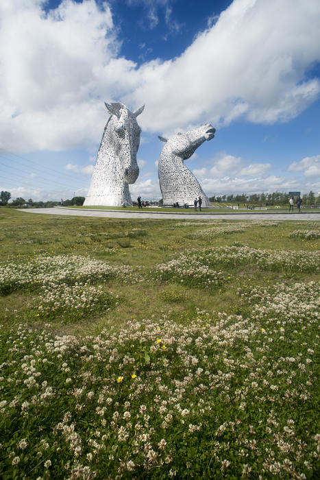 Landscape view of the Kelpies, Falkirk, Scotland, a horse head sculpture to commemorate their role in industry and a popular tourist attraction