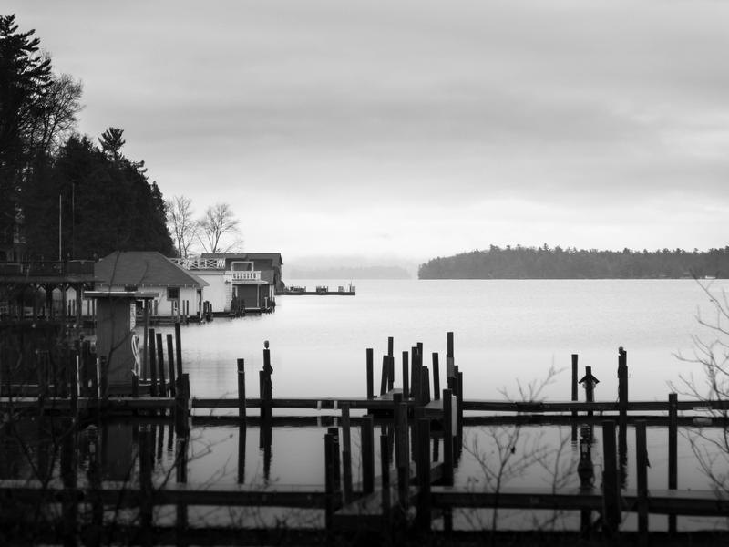 <p>Lake rains mood shot in black and white in rural Vermont.</p>