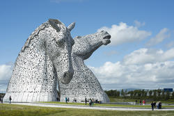 12857   Scenic view of tourists at the Kelpies, Falkirk