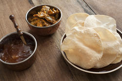 12301   Papadums with chutney and spicy vegetables