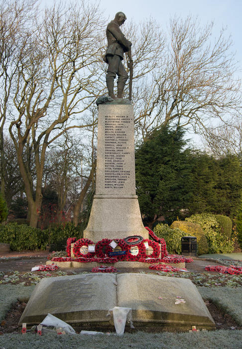 <p>World War One and Two Memorial in Thornton Cleveleys, Lancashire. UK.</p>