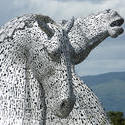12863   The Kelpies Horse Sculpture in Falkirk, Scotland