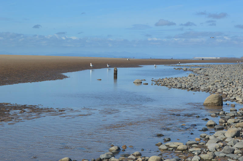 <p>A sea view on a sunny day in Cleveleys, Lancashire UK.</p>