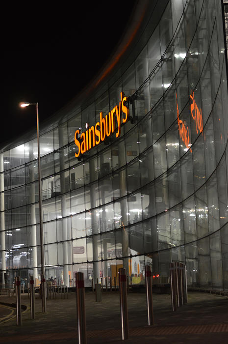 <p>Modern shop at night - Sainsbury's in Blackpool, Lancashire UK - Editorial use only</p>