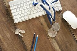 11884   Business Achievement Medals on Wood Computer Desk