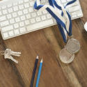 11884   Business Achievement Medals on Wood Computer Desk