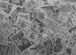 16822   Black and white stamps background