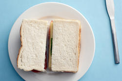 12776   Above view of white bread sandwich
