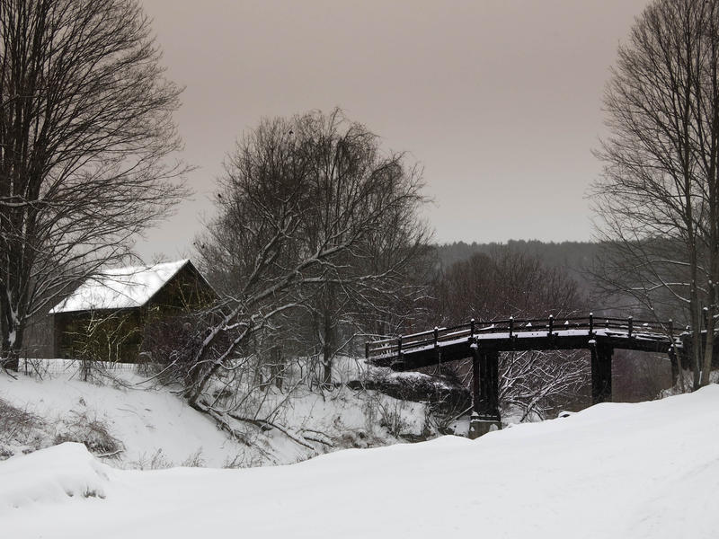 <p>Private bridge to a cabin in the woods in the Winter in rural Vermont.</p>