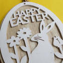 stock image 17339   Cute rustic wooden Happy Easter medallion