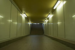 17397   Empty illuminated subway tunnel with steps