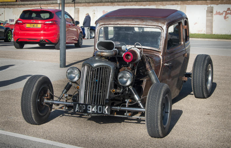 <p>Retro Hot Rod car at a car show in Cleveleys near Blackpool in Lancashire..- Editorial Use Only</p>