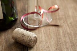 17303   Party copy space with glass, cork and bottle