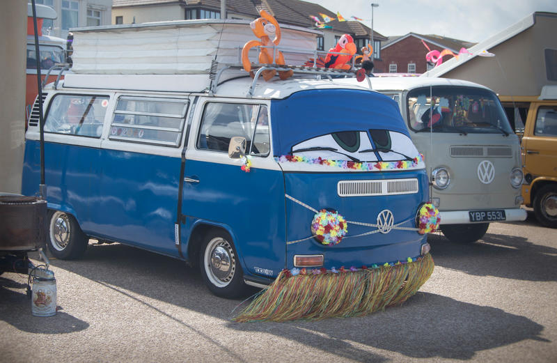 <p>Old VW camper van with a face on the front. Photographed at a car show in Cleveleys near Blackpool in Lancashire, UK.- Editorial Use Only</p>