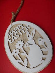 17373   Happy Easter pendant on red background