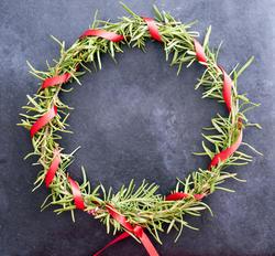 17293   Colourful homemade pine Christmas wreath