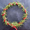 17293   Colourful homemade pine Christmas wreath