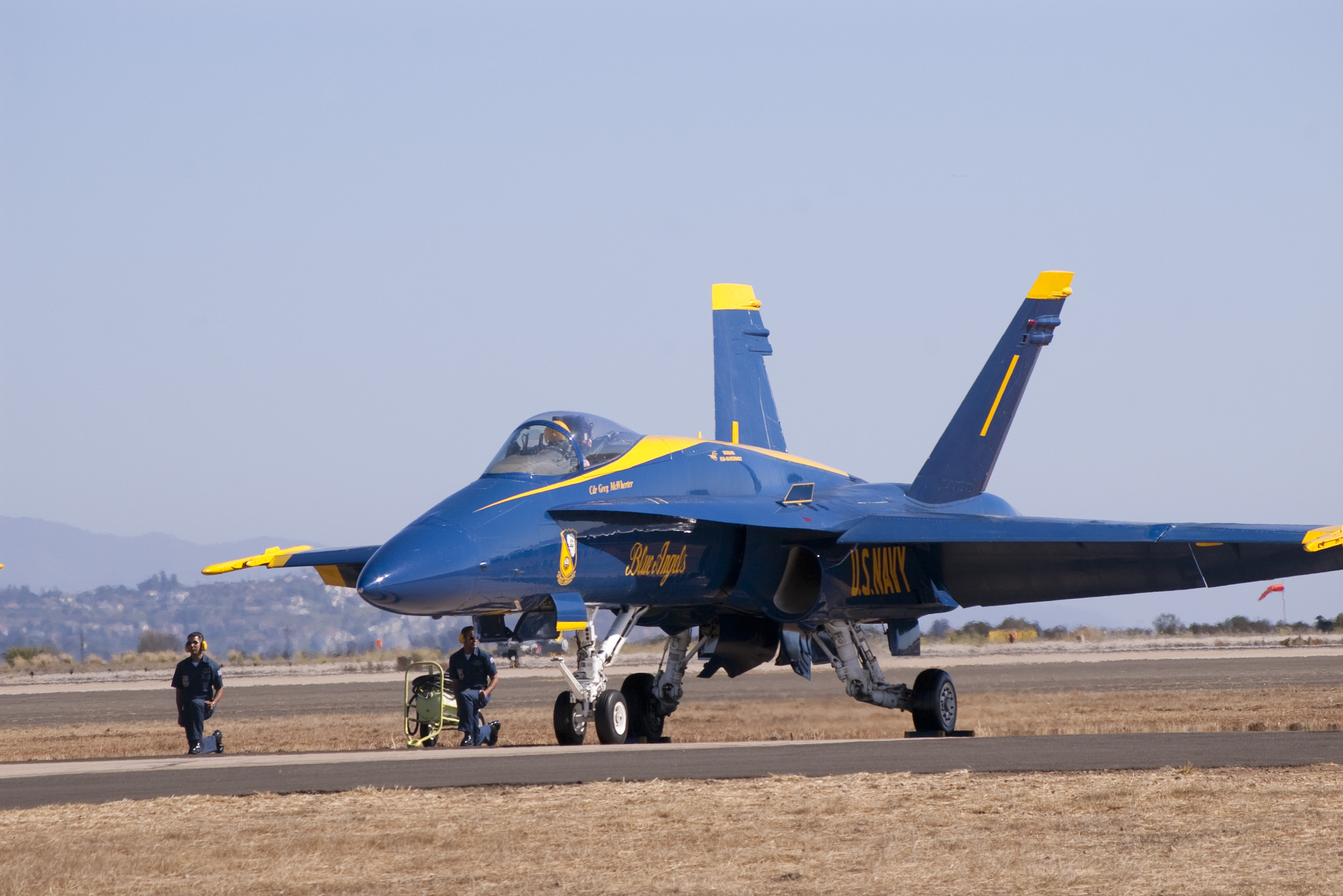 a US navy FA18 Hornet, part of the blue angels airshow dispaly team