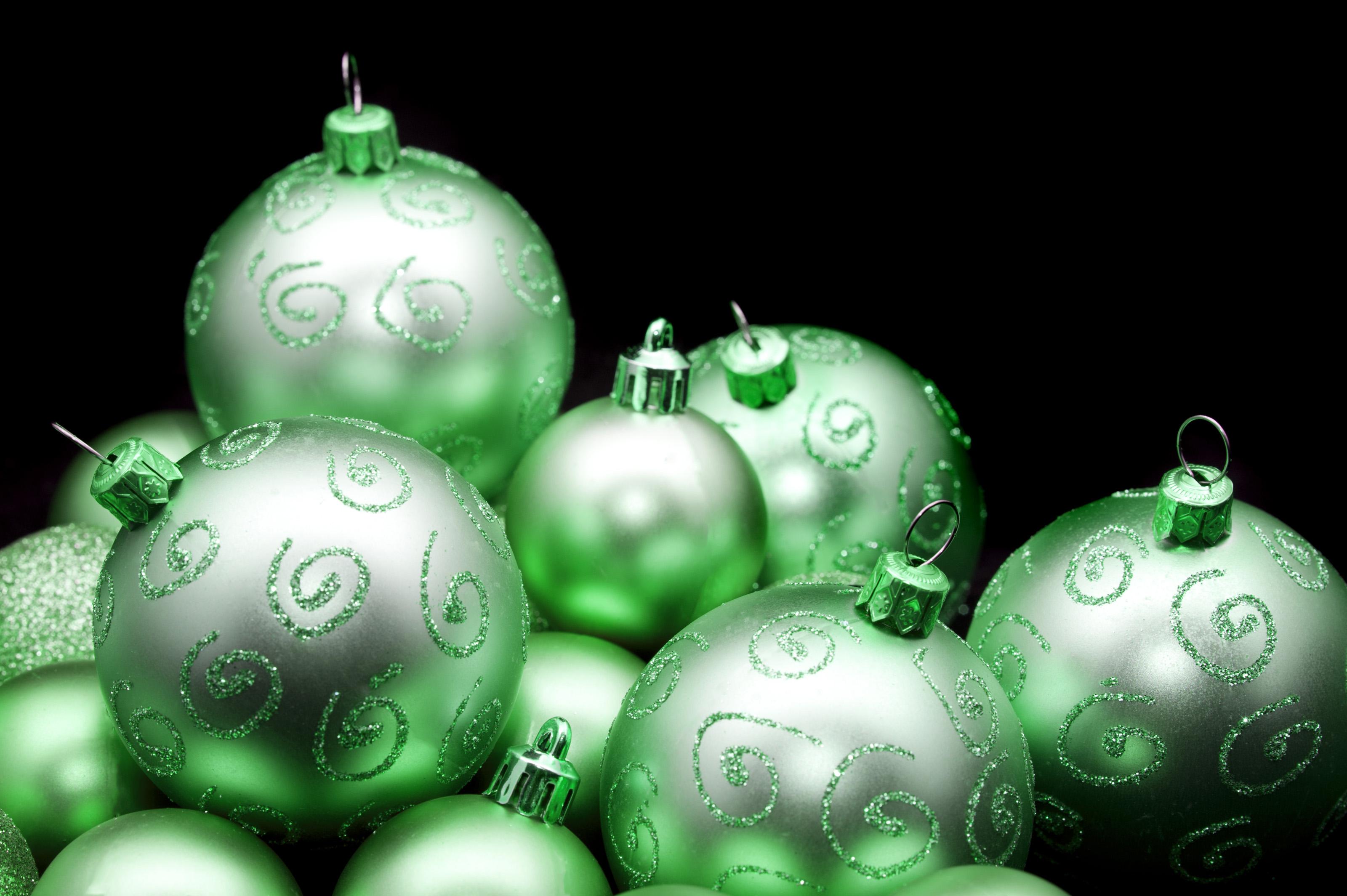 Free Stock Photo 6818 Pretty shiny green Christmas baubles ...