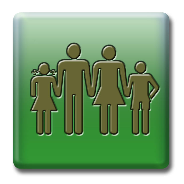 a green button with a family symbol, parents and boy and a girl