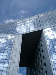 235-reflections in a modern glass building