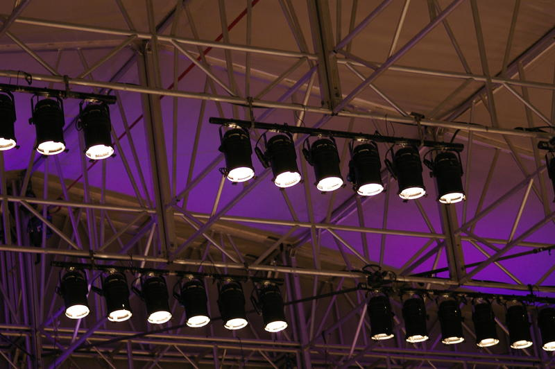an array stage lighting spotlights