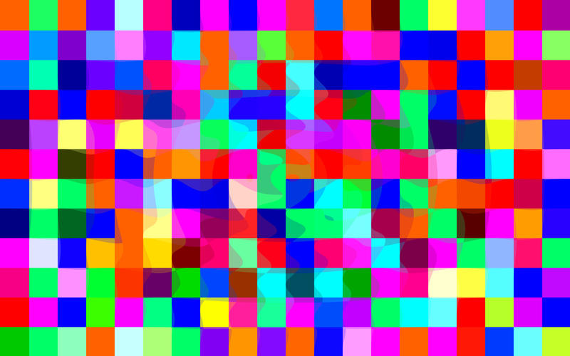 matrix of colourful squares with distorted borders in the centre