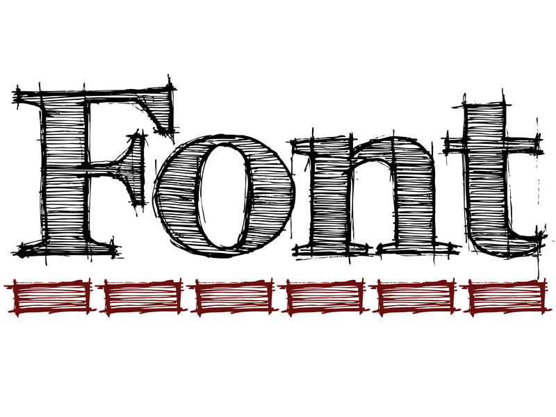 graphic design lettering spelling the word font underlined in red