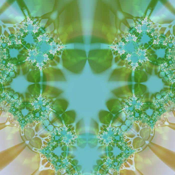 a kitch fractal pattern with gren and brown organic shapes