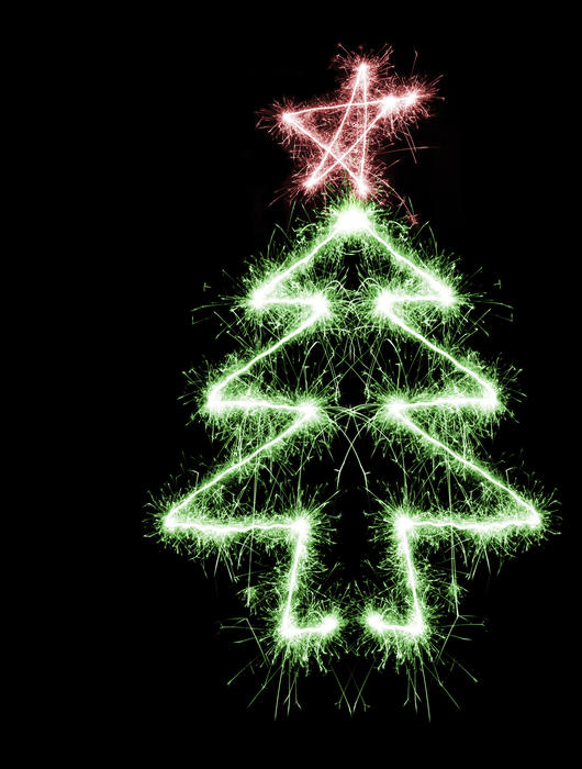a colourful sparking christmas tree symbol