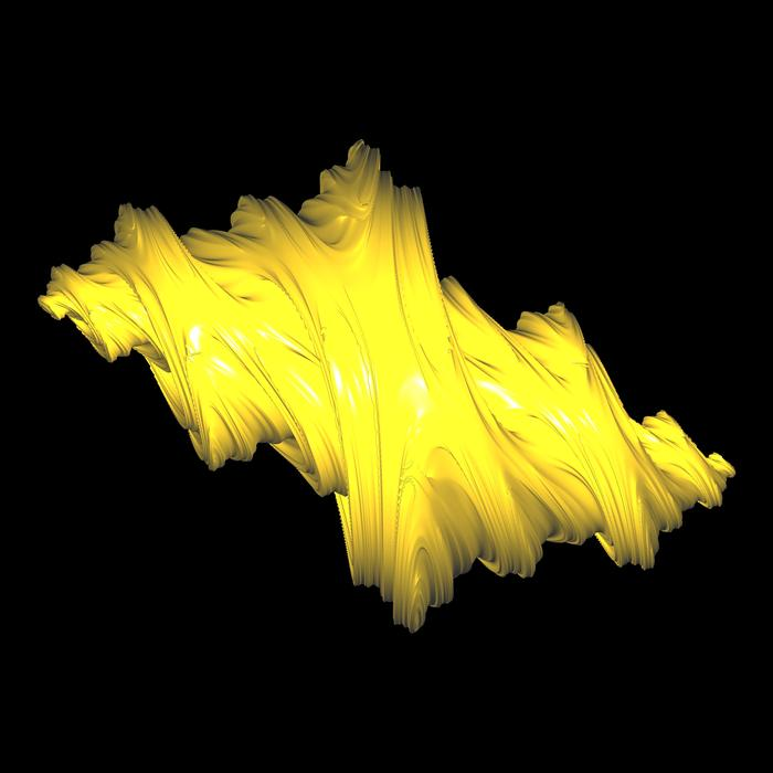 a strange looking yellow 3d fractal rendering