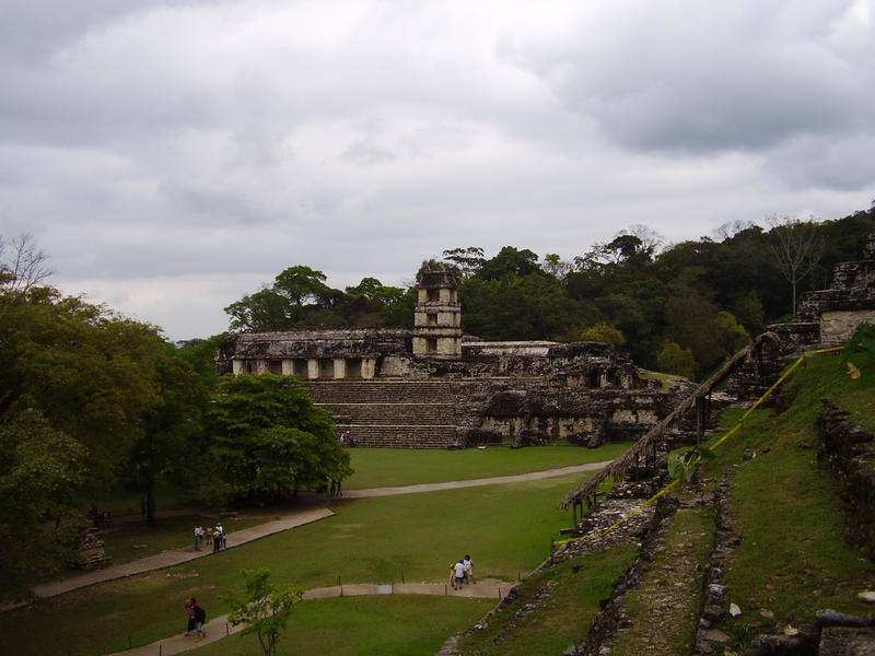 Ruins of the observatory at palenque, Mexico
