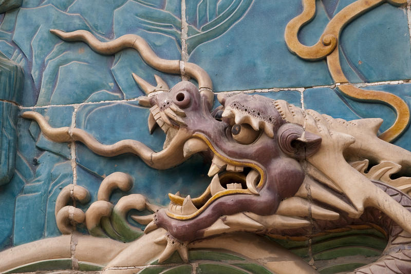 a decorative ceramic tile chinese dragon