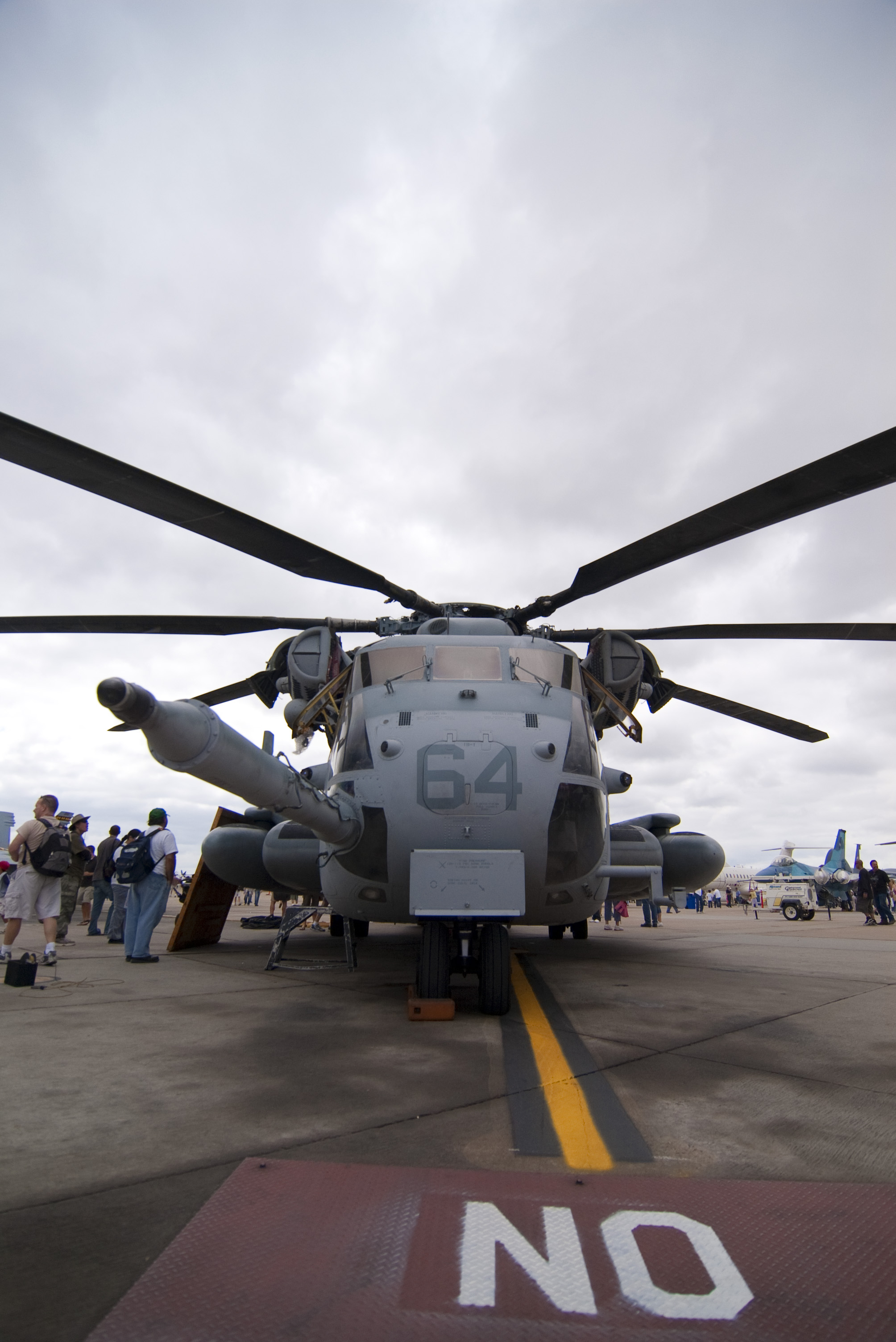 A wide angle view of the front of a Super Stallion Helicopter