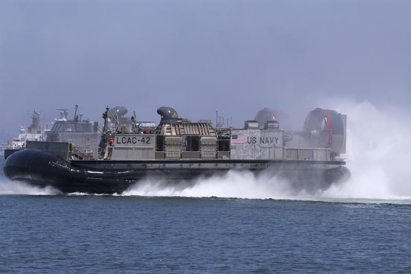 skimming across the water a us navy hovercraft