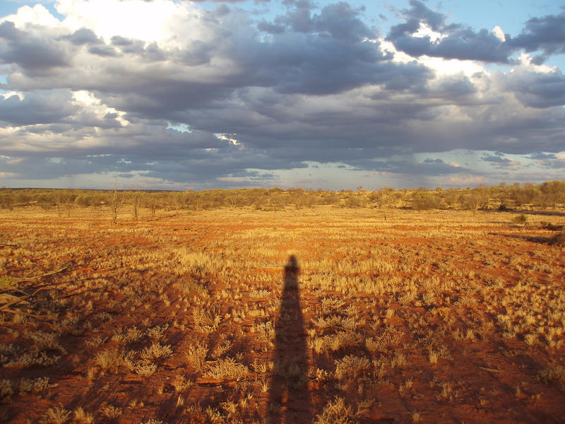long shadows from the sun low in the sky at sunset in the red centre desert area