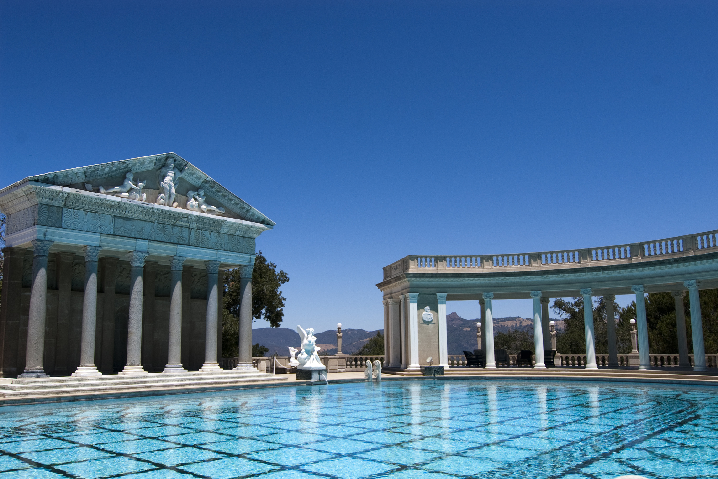 Editorial Use Only: Hearst Castles famous neptune pool with romanesque  architecture, Designed by architect