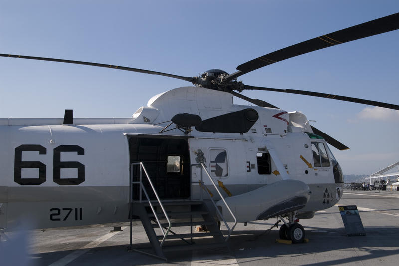 onboard the USS midway, a SH-3 Sea King helicopter