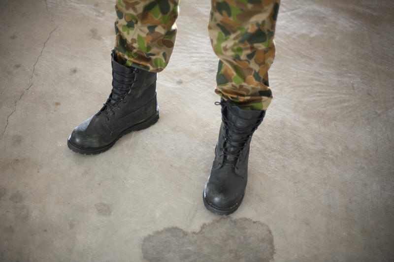army combat boots and camouflage pants