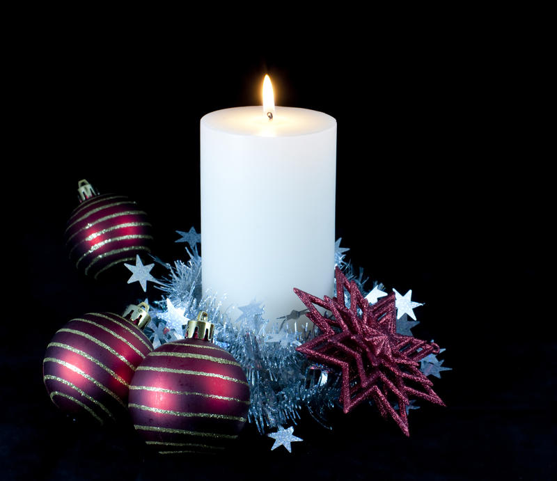 Free Stock Photo 3597 Festive Decorated Candle
