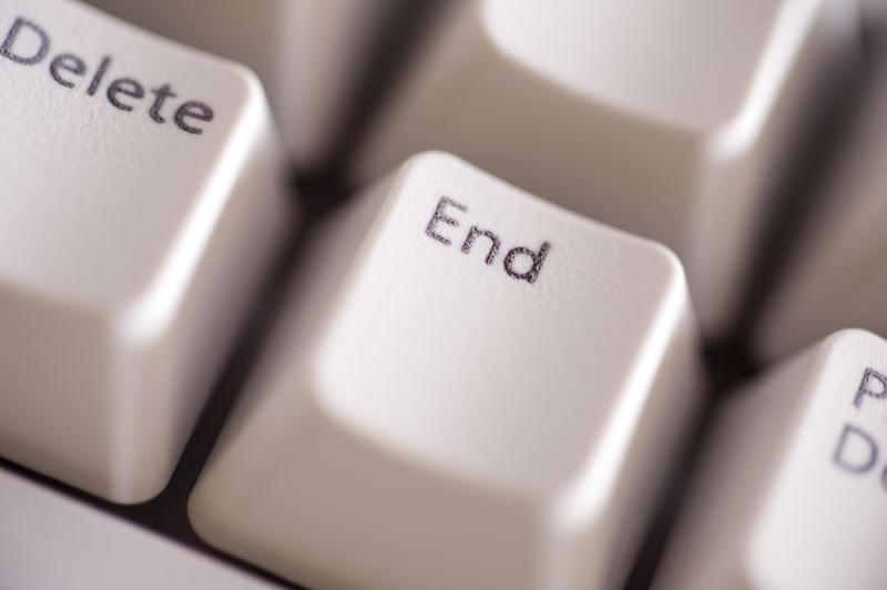 macro image of the end key on a computer keyboard