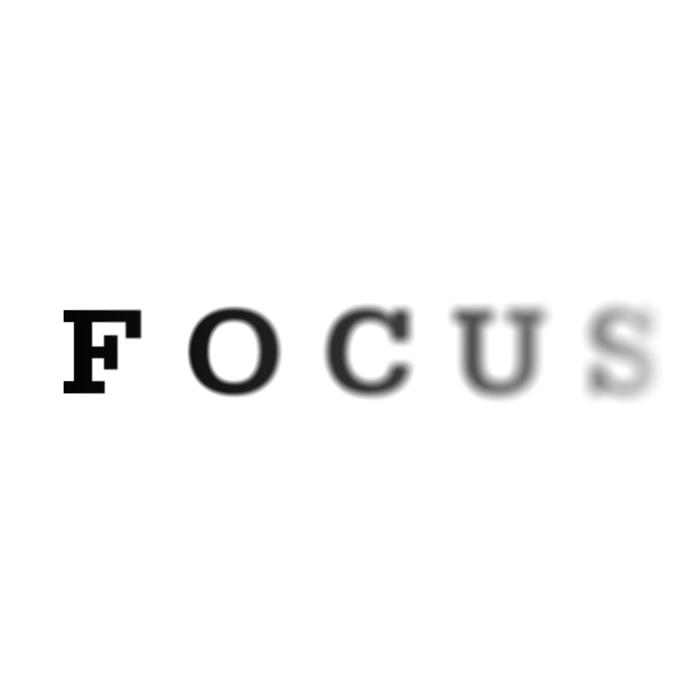 the word focus gradually going blurred, concept for eye exams, short sightedness and concentration