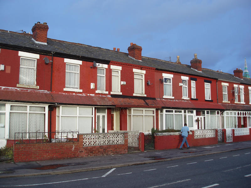 a street of brick terraced houses, manchester, UK - not property relased